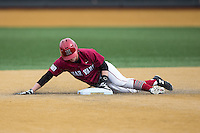 Ben Skinner (1) of the Harvard Crimson slides into second base with a double against the Wake Forest Demon Deacons at David F. Couch Ballpark on March 5, 2016 in Winston-Salem, North Carolina.  The Crimson defeated the Demon Deacons 6-3.  (Brian Westerholt/Four Seam Images)