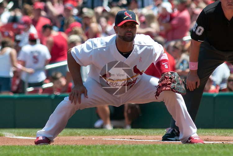 08 May 2011                              St. Louis Cardinals first baseman Albert Pujols (5) stands ready as he covers first base early in the game. The St. Louis Cardinals defeated the Milwaukee Brewers 3-1 on Sunday May 8, 2011 in the final game of a three-game series at Busch Stadium in downtown St. Louis.