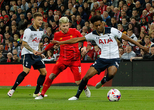 25.10.2016. Anfield, Liverpool, England. EFL Cup. Liverpool versus Tottenham Hotspur. Liverpool defender Alberto Moreno is shielded from the ball by Tottenham's Shayon Harrison.