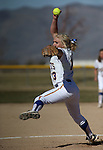 Western Nevada College's Carlee Beck pitches against Colorado Northwestern Community College at Edmonds Sports Complex in Carson City,Nev., on Friday, Feb. 21, 2014. Western swept 10-2 and 7-2.<br /> Photo by Cathleen Allison/Nevada Photo Source