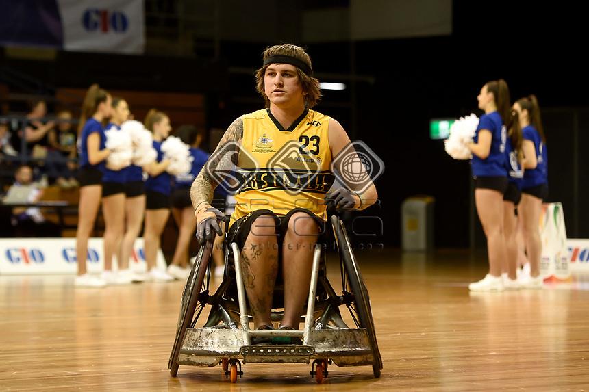 Opening Ceremony - Jayden Warn (Aus)<br /> Australian Wheelchair Rugby Team<br /> 2018 IWRF WheelChair Rugby <br /> World Championship / Day 1<br /> Sydney  NSW Australia<br /> Sunday 5th August 2018<br /> © Sport the library / Jeff Crow / APC