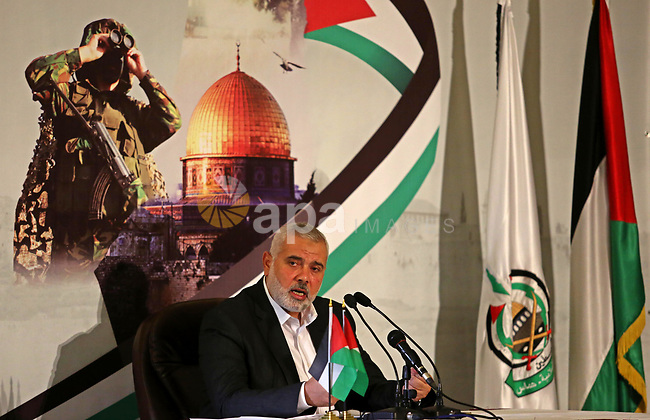 Hamas Chief Ismail Haniyeh gives a speech in Gaza City on July 5, 2017. Haniya said that meetings between his movement and the Egyptian authorities would ease the siege imposed on the Gaza Strip for more than a decade. Photo by Ashraf Amra