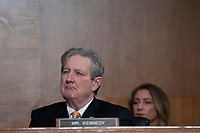 United States Senator John Kennedy (Republican of Louisiana) listens as Chair of the Federal Reserve Jerome Powell testifies before the U.S. Senate Committee on Banking, Housing, and Urban Affairs at the United States Capitol in Washington D.C., U.S. on Wednesday, February 12, 2020.  <br /> <br /> Credit: Stefani Reynolds / CNP/AdMedia