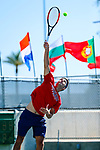 SURPRISE, AZ - MAY 12: Alvaro Regalado of the Columbus State Cougars serves a ball against the Barry Buccaneers during the Division II Men's Tennis Championship held at the Surprise Tennis & Racquet Club on May 12, 2018 in Surprise, Arizona. (Photo by Jack Dempsey/NCAA Photos via Getty Images)