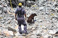 GUARULHOS, SP - 04-12-13 - DESABAMENTO DE PRÉDIO DE 5 ANDARES NA CIDADE DE GUARULHOS/SP. Equipes do Corpo de Bombeiros, com o auxílio de cães, continuam buscas a possível vítima. Foto: Geovani Velasquez / Brazil Photo Press