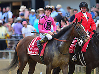 Baltimore, MD - May 18, 2019: Jockey Tyler Gaffalione aboard War of Will after winning the 144the running of the Preakness at the Pimlico Race Course in Baltimore, MD May 18, 2019.  (Photo by Don Baxter/Media Images International)
