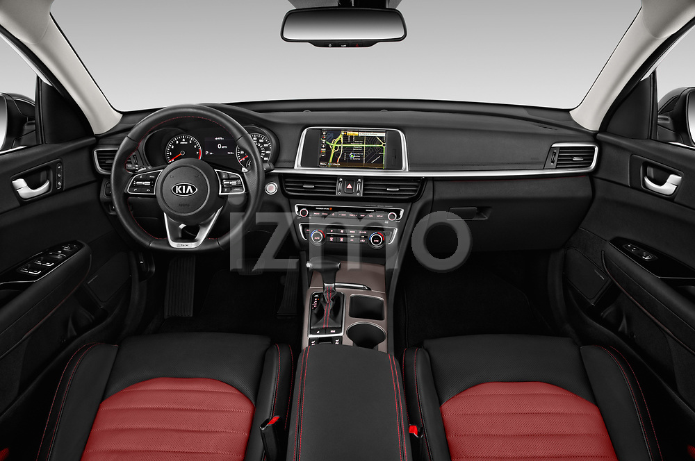 Stock photo of straight dashboard view of a 2019 KIA Optima SX-Turbo 4 Door Sedan