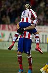 Atletico de Madrid´s Mario Mandzukic and Antoine Griezmann celebrates a goal during 2014-15 La Liga match between Atletico de Madrid and Almeria at Vicente Calderon stadium in Madrid, Spain. February 21, 2015. (ALTERPHOTOS/Luis Fernandez)
