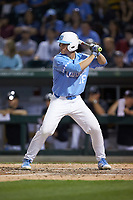 Clemente Inclan (18) of the North Carolina Tar Heels at bat against the South Carolina Gamecocks at BB&T BallPark on April 3, 2018 in Charlotte, North Carolina. The Tar Heels defeated the Gamecocks 11-3. (Brian Westerholt/Four Seam Images)