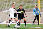 Palos Verdes, CA 01/26/10 - Christy Poropat (8), Kelsey Pio (MC #16) and Annie Curry (MC #9) in action during the Mira Costa vs Palos Verdes Girls Varsity soccer game at Palos Verdes High School.