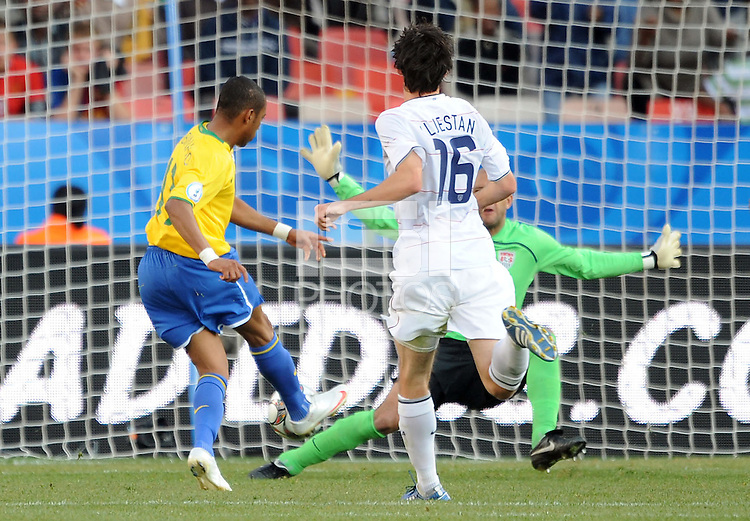Robinho of Brazil scores his side's second goal. Brazil defeated USA 3-0 during the FIFA Confederations Cup at Loftus Versfeld Stadium in Tshwane/Pretoria, South Africa on June 18, 2009.
