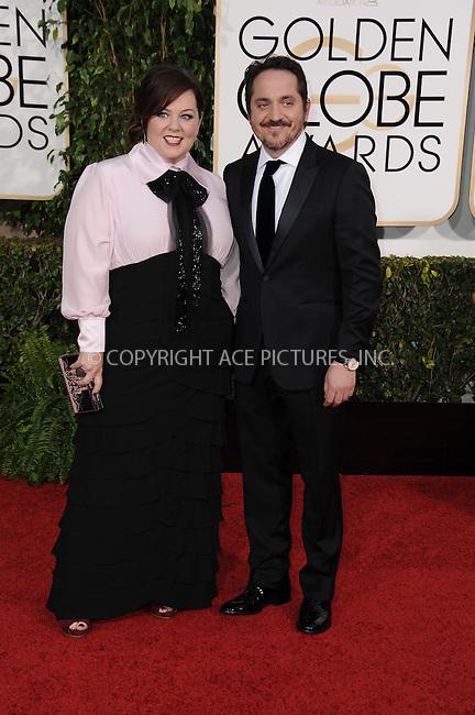 WWW.ACEPIXS.COM<br /> <br /> January 11 2015, LA<br /> <br /> Melissa McCarthy and Ben Falcone arriving at the 72nd Annual Golden Globe Awards at The Beverly Hilton Hotel on January 11, 2015 in Beverly Hills, California. <br /> <br /> <br /> By Line: Peter West/ACE Pictures<br /> <br /> <br /> ACE Pictures, Inc.<br /> tel: 646 769 0430<br /> Email: info@acepixs.com<br /> www.acepixs.com