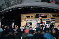 U23 podium with Tom Pidcock (GBR/U23/Telenet Fidea Lions) ahead of Eli Iserbyt (BEL/Marlux-Napoleon Games) & Lucas Dubau (FRA/U23)<br /> <br /> U23 Men's race<br /> UCI CX World Cup Namur / Belgium 2017