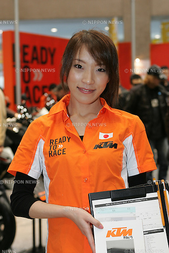 Mar 26, 2010 - Tokyo, Japan - A campaign girl of the Austrian brand KTM poses during the 37th Tokyo Motorcycle Show at Tokyo Big Sight on March 26, 2010. The event is the Japan's largest motorcycle exhibition and it will be held until March 28 this year. (Photo Laurent Benchana/Nippon News)