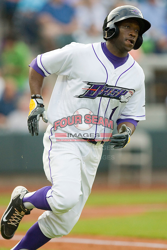 Justin Greene #1 of the Winston-Salem Dash hustles down the first base line against the Lynchburg Hillcats at  BB&T Ballpark May 22, 2010, in Winston-Salem, North Carolina.  Photo by Brian Westerholt / Four Seam Images