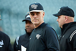 Wake Forest Demon Deacons head coach Tom Walter (16) of the Wake Forest Demon Deacons prior to the game against the Charlotte 49ers at BB&T BallPark on March 13, 2018 in Charlotte, North Carolina.  The 49ers defeated the Demon Deacons 13-1.  (Brian Westerholt/Sports On Film)
