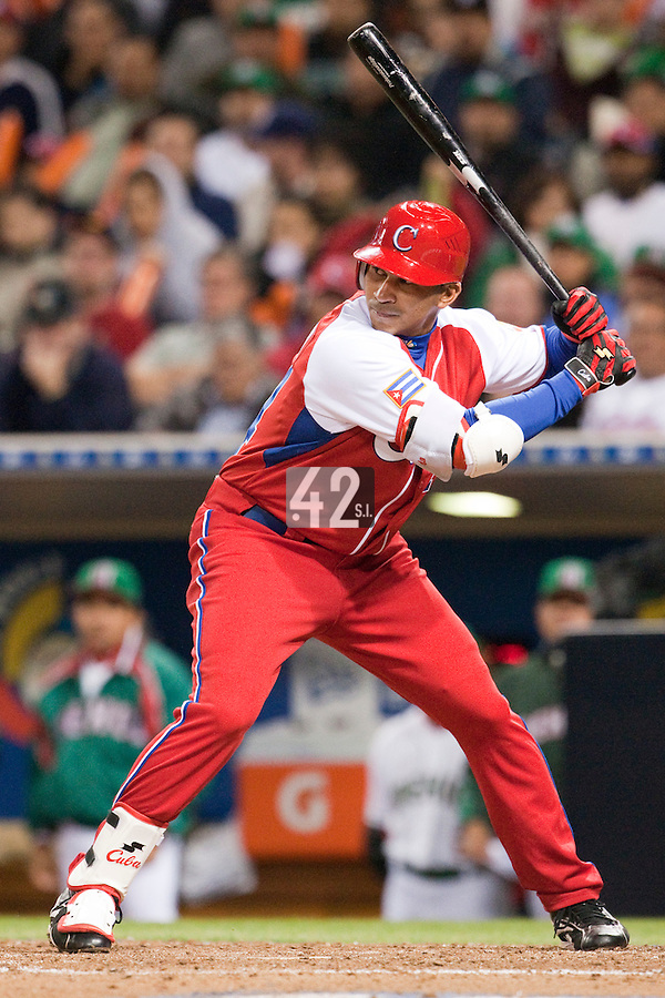 16 March 2009: #24 Frederich Cepeda of Cuba is seen at bat during the 2009 World Baseball Classic Pool 1 game 3 at Petco Park in San Diego, California, USA. Cuba wins 7-4 over Mexico.