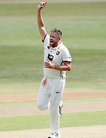 Mitch Claydon of Kent celebrates after taking the wicket of Callum Parkinson during the County Championship Division 2 game between Kent and Leicestershire (Day 2) at the St Lawrence ground, Canterbury, on Mon July 23, 2018