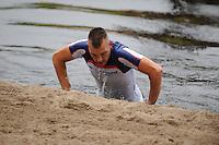 FIERJLEPPEN: JOURE: 18-06-2014, ROC Friese Poort Competitie, Senioren Topklasse, Thewis Hobma wint, Niels Koetsier, ©foto Martin de Jong
