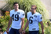 July 27, 2018: New England Patriots long snapper Joe Cardona (49) and punter Ryan Allen (6) head to practice at the New England Patriots training camp held on the practice fields at Gillette Stadium, in Foxborough, Massachusetts. Eric Canha/CSM