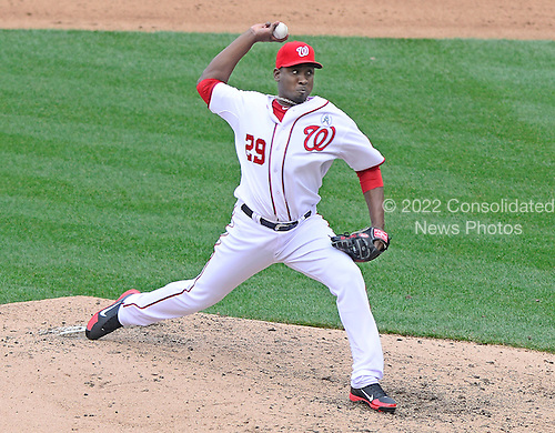 Washington Nationals pitcher Rafael Soriano (29) works in the ninth inning against the Miami Marlins at Nationals Park in Washington, D.C. on Opening Day, Monday, April 1, 2013..Credit: Ron Sachs / CNP