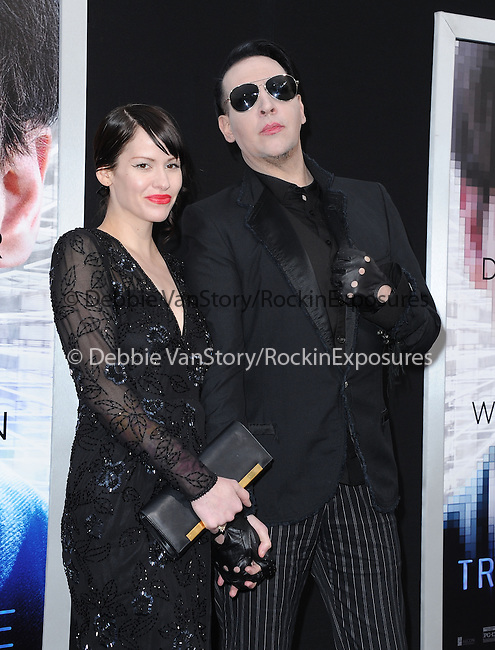 """Lindsay Usich, Marilyn Manson attends The L.A. Premiere of Alcon Entertainment's """"TRANSCENDENCE"""" held at The Regency Village Theater in Westwood, California on April 10,2014                                                                               © 2014Hollywood Press Agency"""