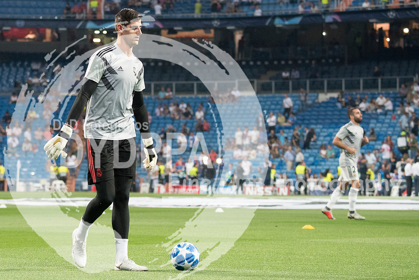 Uefa Champions League football match Real Madrid vs AS Roma at the Santiago Bernabeu stadium in Madrid on September 19, 2018.<br /> <br /> Thibaut Courtois