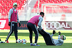 09 December 2016: Seattle's Herculez Gomez (center) has fun with Alvaro Fernandez (URU) (right). Seattle Sounders FC held a training session one day before playing in MLS Cup 2016 at BMO Field in Toronto, Ontario in Canada.