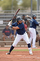 Seattle Mariners catcher Blake Ochoa (27) during a Minor League Spring Training game against the San Diego Padres at Peoria Sports Complex on March 24, 2018 in Peoria, Arizona. (Zachary Lucy/Four Seam Images)