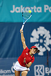 Makoto Ninomiya (JPN),<br /> AUGUST 21, 2018 - Tennis : <br /> Mixed Doubles Round of 32<br /> at Jakabaring Sport Center Tennis Court <br /> during the 2018 Jakarta Palembang Asian Games <br /> in Palembang, Indonesia. <br /> (Photo by Yohei Osada/AFLO SPORT)