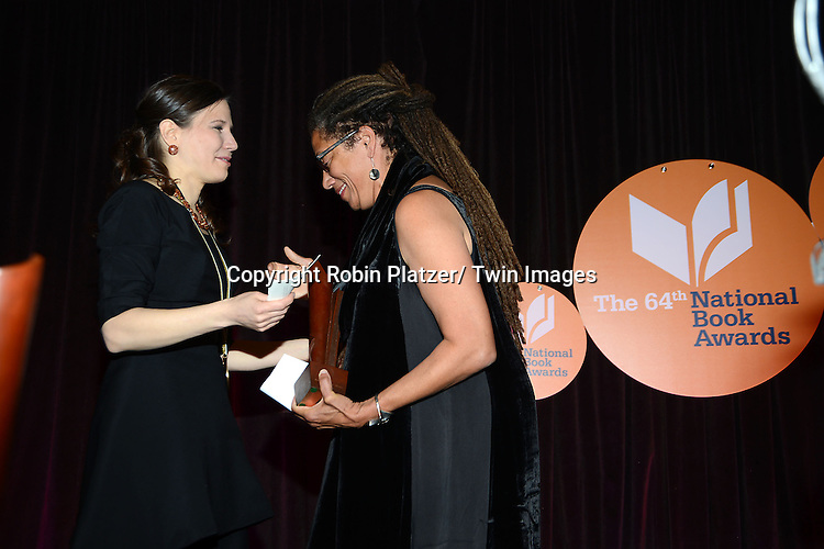 winner for Poetry Mary Szybist and Nikky Finney at the 2013 National Book Awards Dinner and Ceremony on November 20, 2013 at Cipriani Wall Street in New York City.