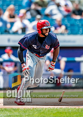 22 July 2018: Louisville Bats outfielder C.J. McElroy in action against the Syracuse SkyChiefs at NBT Bank Stadium in Syracuse, NY. The Bats defeated the Chiefs 3-1 in AAA International League play. Mandatory Credit: Ed Wolfstein Photo *** RAW (NEF) Image File Available ***