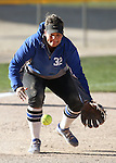 Western's Briauna Carter makes a play against Salt Lake Community College at Edmonds Sports Complex in Carson City, Nev., on Friday, April 15, 2016. <br />Photo by Cathleen Allison