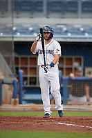 Charlotte Stone Crabs Connor Hollis (2) bats during a Florida State League game against the Bradenton Maruaders on August 7, 2019 at Charlotte Sports Park in Port Charlotte, Florida.  Charlotte defeated Bradenton 3-2 in the second game of a doubleheader.  (Mike Janes/Four Seam Images)