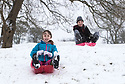 21/01/18<br /> <br /> Chlo&eacute; Kirkpatrick (25) and Freya Kirkpatrick (10) sledge down a hill near Dovedale in the Derbyshire Peak District..<br /> <br /> All Rights Reserved: F Stop Press Ltd. +44(0)1773 550665  www.fstoppress.com.