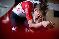 Later stage winner Tim Wellens (BEL/Lotto Soudal) with his pre Timetrial Warming up. <br /> <br /> Baloise Belgium Tour 2019<br /> Stage 3: ITT Grimbergen – Grimbergen 9.2km<br /> ©kramon