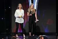 LOS ANGELES - JUNE 2: Kyra Thompson, left, and Amanda Zucker accept the Best Live Show award for 'The Voice' onstage during the Critics' Choice Real TV Awards at the Beverly Hilton on June 2, 2019 in Beverly Hills, California. (Photo by Willy Sanjuan/PictureGroup)