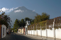 Volcán de Agua seen from the streets of Antigua, a UNESCO World Heritage Site, Guatemala