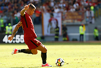 Calcio, Serie A: Roma vs Udinese. Roma, stadio Olimpico, 23 settembre 2017.<br /> Roma&rsquo;s Aleksandar Kolarov attempts a free kick during the Italian Serie A football match between Roma and Udinese at Rome's Olympic stadium, 23 September 2017. Roma won 3-1.<br /> UPDATE IMAGES PRESS/Riccardo De Luca