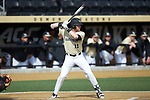 Shane Muntz (11) of the Wake Forest Demon Deacons at bat against the Louisville Cardinals at David F. Couch Ballpark on March 18, 2018 in  Winston-Salem, North Carolina.  The Demon Deacons defeated the Cardinals 6-3.  (Brian Westerholt/Sports On Film)