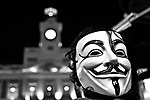 Protester wearing Guy Fawkes mask participate at an indignados demonstration in Madrid in May..(Alterphotos/Alconada)