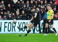 Ospreys' Dan Biggar converts his sides second try<br /> <br /> Photographer Kevin Barnes/CameraSport<br /> <br /> Guinness Pro14 Round 13 - Ospreys v Cardiff Blues - Saturday 6th January 2018 - Liberty Stadium - Swansea<br /> <br /> World Copyright &copy; 2018 CameraSport. All rights reserved. 43 Linden Ave. Countesthorpe. Leicester. England. LE8 5PG - Tel: +44 (0) 116 277 4147 - admin@camerasport.com - www.camerasport.com