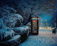 "A snow covered phone box in Highgate, North London where 28 year old Hamid from Iran used to shelter in the years he spent living on the streets. ""When you're sleeping outside one night feels like one year because it's so cold. I never managed to sleep for more than an hour or two and when it's raining it's hard to sleep for more than fifteen minutes at a time."" Hamid is one of an estimated 300,000 rejected asylum seekers living in the UK."