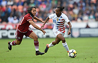 Houston, TX - Sunday April 8, 2018: Stephany Mayor, Crystal Dunn during an International friendly match versus the women's National teams of the United States (USA) and Mexico (MEX) at BBVA Compass Stadium.