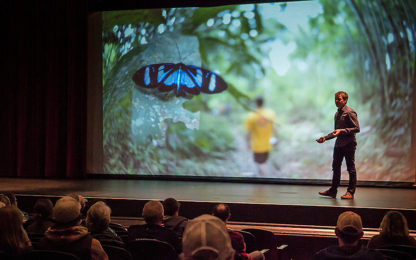 Filmmaker Bryan Smith of Reel Water Productions presents on his stellar career as an adventure filmmaker during the Fresh Coast Film Festival in Marquette, Michigan. The festival, held annually in October, celebrates the outdoor lifestyle and environment of the Great Lakes region.