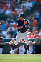 Detroit Tigers third baseman Jeimer Candelario (46) at bat during a Grapefruit League Spring Training game against the Baltimore Orioles on March 3, 2019 at Ed Smith Stadium in Sarasota, Florida.  Baltimore defeated Detroit 7-5.  (Mike Janes/Four Seam Images)