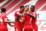 Robin Quaison (FSV Mainz 05) bejubelt den Treffer zum 1:0 mit Karim Onisiwo (FSV Mainz 05) und Moussa Niakhate (FSV Mainz 05), <br /> <br /> Sport: Fussball: 1. Bundesliga:: nphgm001:  Saison 19/20: 33. Spieltag: 1. FSV Mainz 05 vs SV Werder Bremen 20.06.2020<br /> <br /> <br /> Foto: Neis/Eibner/Pool/via gumzmedia/nordphoto<br /> <br /> DFB regulations prohibit any use of photographs as image sequences and/or quasi-video.<br /> Editorial Use ONLY<br /> National and International News Agencies OUT<br /> <br />  DFL REGULATIONS PROHIBIT ANY USE OF PHOTOGRAPHS AS IMAGE SEQUENCES AND OR QUASI VIDEO<br /> EDITORIAL USE ONLY<br /> NATIONAL AND INTERNATIONAL NEWS AGENCIES OUT