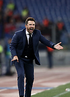Football Soccer: UEFA Champions League  AS Roma vs PFC CSKA Mosca Stadio Olimpico Rome, Italy, October 23, 2018. <br /> Roma's coach Eusebio Di Francesco speaks to his players during the Uefa Champions League football soccer match between AS Roma and PFC CSKA Mosca at Rome's Olympic stadium, October 23, 2018.<br /> UPDATE IMAGES PRESS/Isabella Bonotto