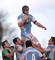 Garryowen number 8 Dave Sherry secures this lineout ball during the AIB Cup semi-final against Ballynahinch at Ballymacarn Park, Ballynahinch. Mandatory Credit - John Dickson