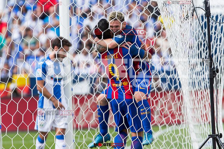 FC Barcelona's Luis Suarez  and Leo Messi  during the match of La Liga between Club Deportivo Leganes and Futbol Club Barcelona at Butarque Estadium in Leganes. September 17, 2016. (ALTERPHOTOS/Rodrigo Jimenez) /NORTEPHOTO